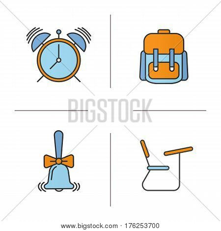 School and education color icons set. Student's backpack, alarm clock, ringing school bell, desk. Isolated vector illustrations