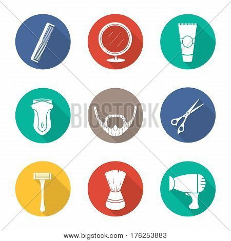 Shaving. Flat design long shadow icons set. Barber shop. Electric shaver, scissors and comb, after shave cream, mirror, shaving brush, hairdryer and beard. Vector silhouette illustration