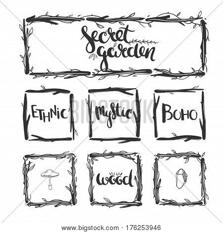 Set of floral frames in rustic style isolated on white. Vector natural frames with lettering.