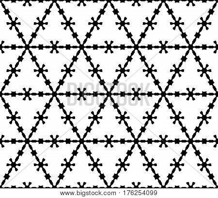 Vector monochrome texture, black & white geometric seamless pattern. Illustration of barbed wire, triangular grid, carved shapes. Abstract design for decoration, prints, textile, cover, furniture, fabric, cloth
