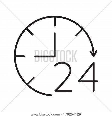 Open around the clock linear icon. Thin line illustration. Open 24 hours a day. Contour symbol. Vector isolated outline drawing