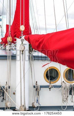 Window or porthole on a sailing vessel