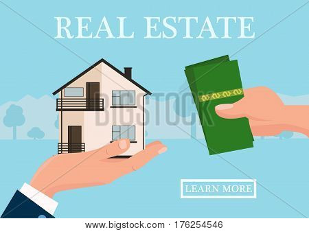 Vector real estate concept in flat style - businessmans hand giving house and buyer give money, web banner, houses for sale or rent.