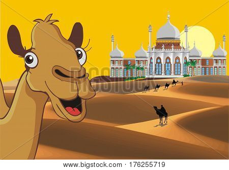 Landscape - the Eastern Palace in the desert. A caravan of camels in the desert. The weekend in Dubai. Vector illustration