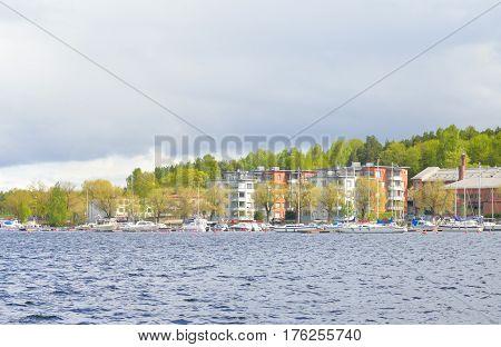 View of Lappeenranta city and Saimaa lake. Lappeenranta - city and municipality in Finland in the province of Eastern Finland.