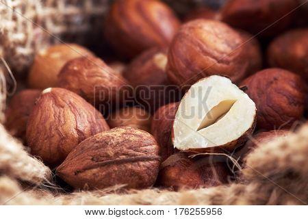 Peeled Hazelnuts In Burlap Bag