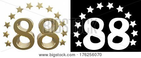 Gold number eighty eight decorated with a circle of stars. 3D illustration