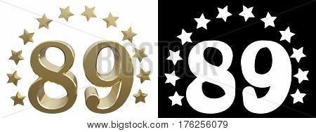 Gold number eighty nine decorated with a circle of stars. 3D illustration