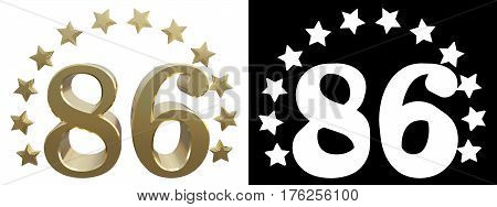 Gold number eighty six decorated with a circle of stars. 3D illustration