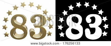 Gold number eighty three decorated with a circle of stars. 3D illustration