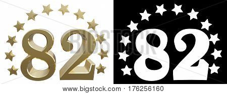 Gold number eighty two decorated with a circle of stars. 3D illustration