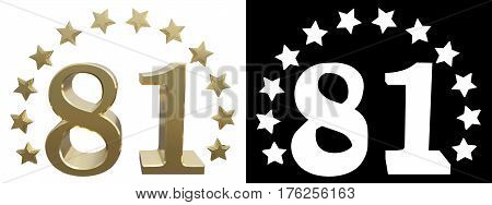 Gold number eighty one decorated with a circle of stars. 3D illustration