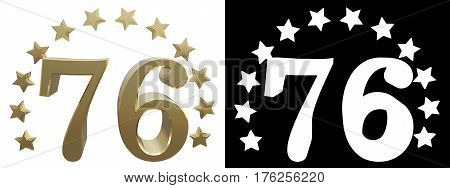 Gold number seventy six decorated with a circle of stars. 3D illustration
