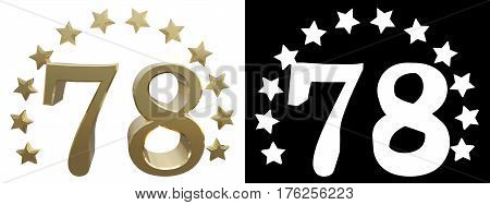 Gold number seventy eight decorated with a circle of stars. 3D illustration