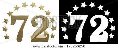 Gold number seventy two decorated with a circle of stars. 3D illustration