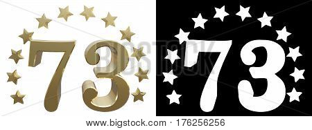 Gold number seventy three decorated with a circle of stars. 3D illustration