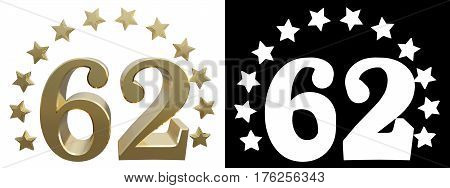Gold number sixty two decorated with a circle of stars. 3D illustration