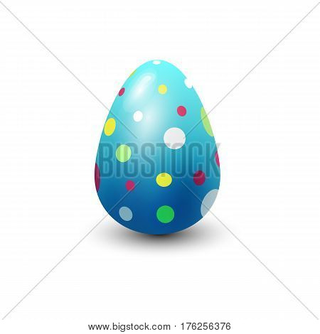 Easter egg painted with spring pattern. Decoration retro multi colored sign. Vintage ornament organic food holiday game symbol vector illustration.