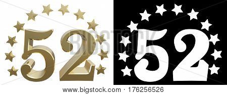 Gold number fifty two decorated with a circle of stars. 3D illustration