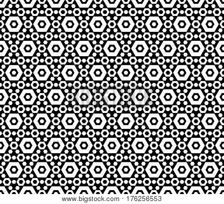 Vector monochrome texture, black & white hexagonal geometric seamless pattern. Contrast abstract background with different sized hexagons, symmetric structure. Design for decoration, textile, prints, fabric, cloth, wrapping