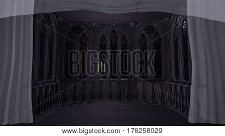 Love letter at gothic balcony in old winter castle 3d illustration render title background screen