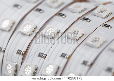UV diode strip closeup SMD LEDs in details