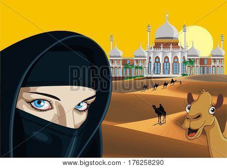 Landscape - an Arab girl on the background of the Palace in the desert. A caravan of camels in the desert. The weekend in Dubai. Vector illustration