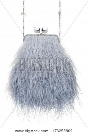 Feathers clutch isolated, white, objects, people, background Handbag reticule