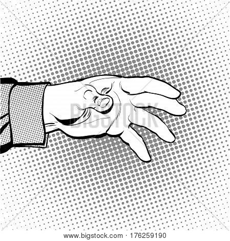Man's hand holding out for something. Man calling for. Man inquiring for something. Man's hand. Reaching out something. Requiring something. Concept idea of advertisement. Halftone background