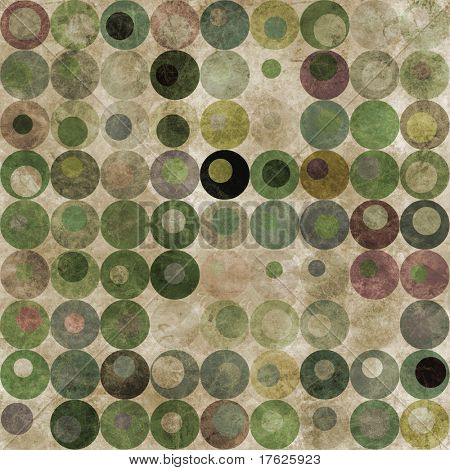 An abstract grungy image of circles with nested circles in green tones