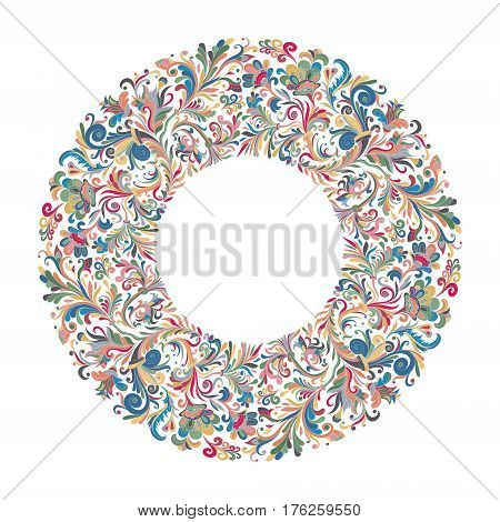 Vector circle frame, wreath design made of doodle flowers. Circle decoration. Wreath illustration made of flowers and herbs. Spring elements. Floral doodles wreath