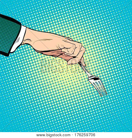 Man stretches out his hand to take something with a fork. Man asking. Man's hand. Reaching out something. Requiring something. Concept idea of advertisement. Pop art illustration. Halftone background