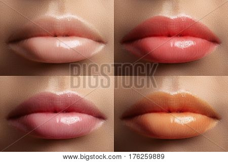 Beautiful lip collection. Fashion sexy make-up set with female plump lips. Cute sweet color natural light skin color gloss pink coral and juicy orange. Fashion variant for makeup