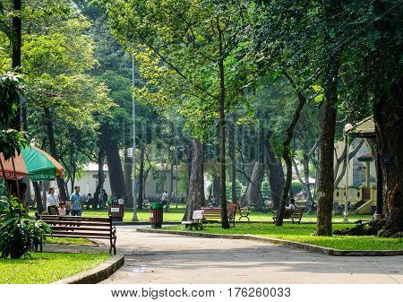 Landscape Of The Park With Green Trees