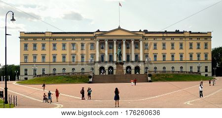 Oslo Norway - July 22 2014: The Royal Palace in Oslo was built in the first half of the 19th century as the Norwegian residence of King Charles III.
