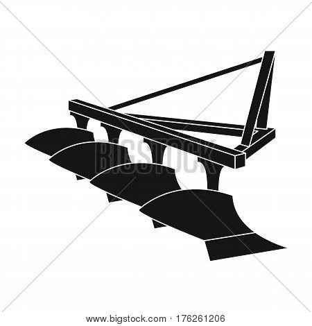 Red metal attachment to the tractor for plowing fields.Agricultural Machinery single icon in black style vector symbol stock web illustration.