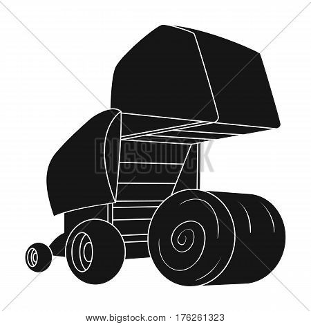 Round hay bales. Modern agricultural machinery for  of hay and rolling circles.Agricultural Machinery single icon in black style vector symbol stock web illustration.