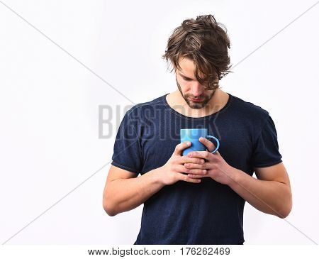 Caucasian Sexy Young Macho Holding Coffee Cup Or Mug