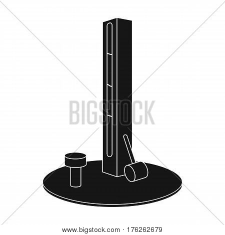 Entertainment on the impact force. Beat the hammer on the stand.Amusement park single icon in black style vector symbol stock web illustration.