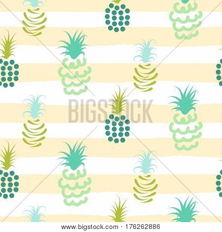 Abstract pineapple pastel colors striped pattern. Light green baby ananas seamless surface texture design for nursery child apparel.
