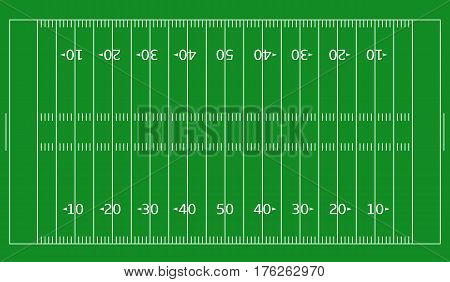 American Football field. White markup isolated on green background. Vector illustration