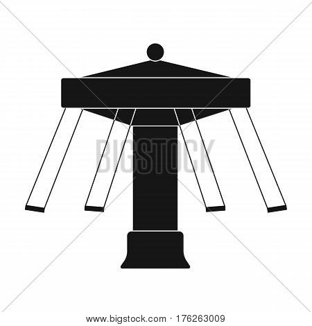 Carousel with seats on chains for children. Amusement park.Amusement park single icon in black style vector symbol stock web illustration.