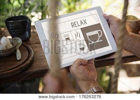 Illustration of coffee shop advertisement on digital tablet