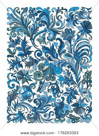 Ethnic colored floral zentangle, doodle background pattern rectangle in vector. Henna paisley mehndi doodles design. Good for cover design. Blue colors.