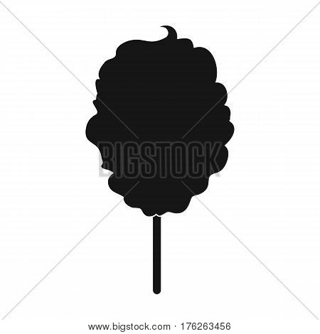 Pink sweet cotton wool on a stick. Dessert for children and sugar in the amusement park.Amusement park single icon in black style vector symbol stock web illustration.