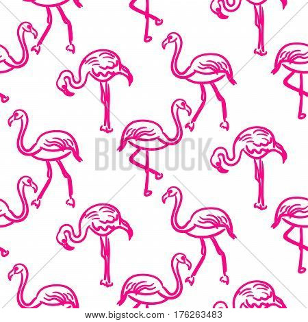 Flamingo hot pink outline sketch seamless vector texture. Doodle ink aloha bird hand drawn surface pattern.