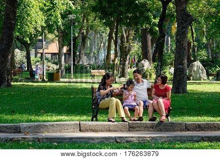 People Relax At The City Park
