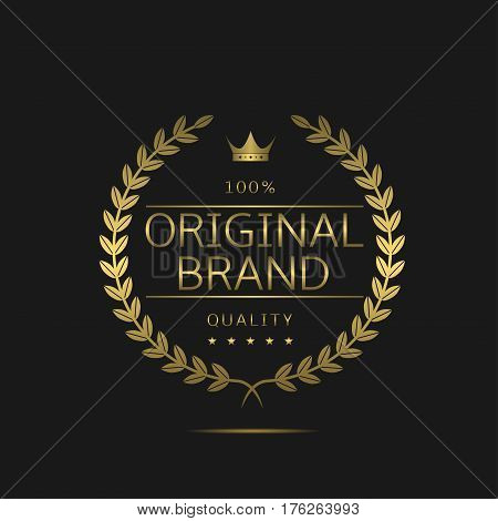 Original brand icon. Golden laurel wreath label with crown and stars, royal luxury award for best business company