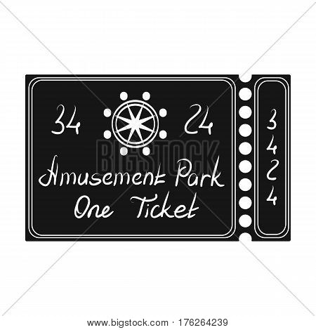 Ticket for passage to the territory of the amusement park.Amusement park single icon in black style vector symbol stock web illustration.