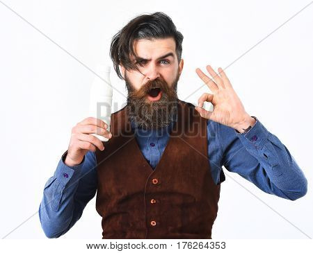 Bearded Man Holding Bottle Of Kefir With Angry Face